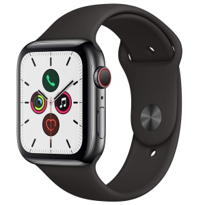 Apple Watch Series 5 Space Black Stainless Steel Black Sport Band 1